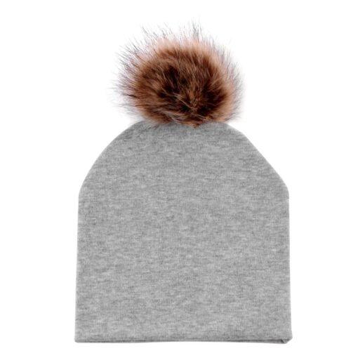 JOCESTYLE Cute Baby Children Hat Boys Girls Cap Cotton Faux Fur Pompom Solid Color Stripe Warm 5