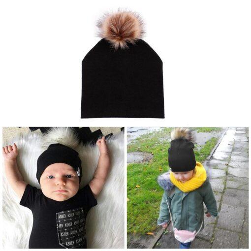 JOCESTYLE Cute Baby Children Hat Boys Girls Cap Cotton Faux Fur Pompom Solid Color Stripe Warm