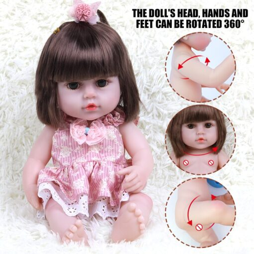 JULY S SONG 38CM Full Silicone Drinking Water Pee Body Reborn Baby Doll Toy For Girl 3