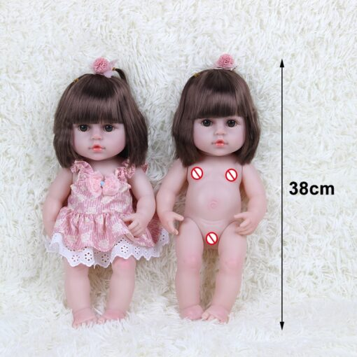 JULY S SONG 38CM Full Silicone Drinking Water Pee Body Reborn Baby Doll Toy For Girl 5