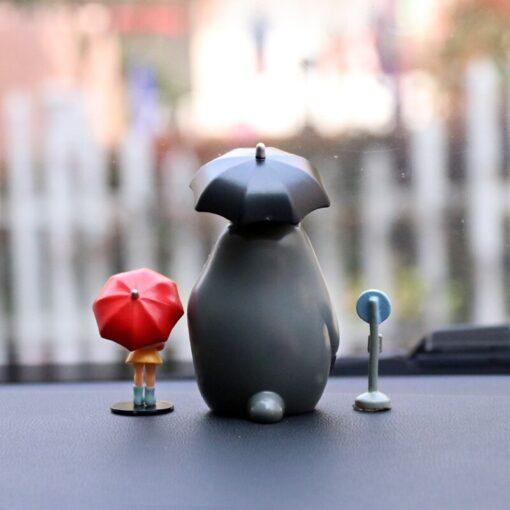 Japan Miyazaki Umbrella Totoro Doll Garage Kit Car Decoration Three Piece Desktop Car Interior Decoration Gift 2