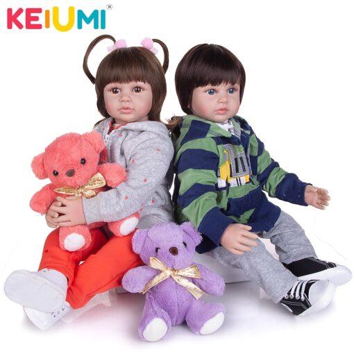 KEIUMI 60 CM Lifelike Reborn Babies Dolls Cloth Body Collectable Princess Newborn Toy Baby Dolls For