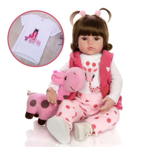 KEIUMI Hot Sale Reborn Baby Doll Toy Cloth Body Stuffed Realistic Baby Doll With Giraffe Toddler 1