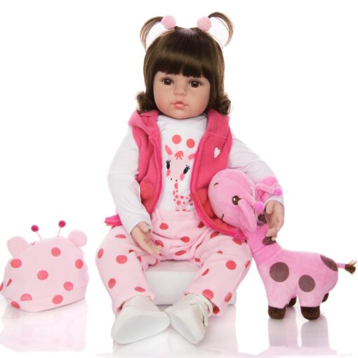 KEIUMI Hot Sale Reborn Baby Doll Toy Cloth Body Stuffed Realistic Baby Doll With Giraffe Toddler 2