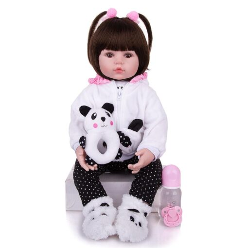 KEIUMI Realistic Reborn Baby Girl Doll Cloth Body Stuffed Lifelike Babies Doll Toy Wear Panda Clothing 1