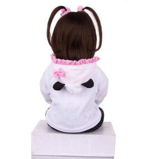 KEIUMI Realistic Reborn Baby Girl Doll Cloth Body Stuffed Lifelike Babies Doll Toy Wear Panda Clothing 4