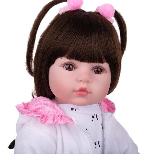 KEIUMI Realistic Reborn Baby Girl Doll Cloth Body Stuffed Lifelike Babies Doll Toy Wear Panda Clothing 5