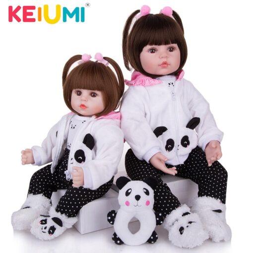 KEIUMI Realistic Reborn Baby Girl Doll Cloth Body Stuffed Lifelike Babies Doll Toy Wear Panda Clothing