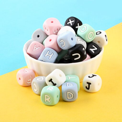 Keep Grow 100Pcs Silicone English Letter 12MM Baby Teething Beads Pink Alphabet Letters For Personalized Name 3