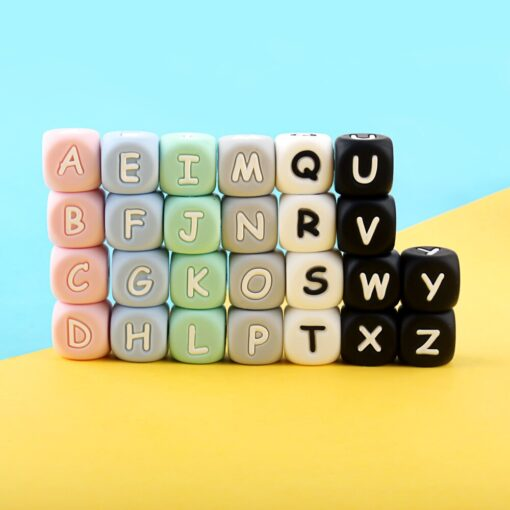 Keep Grow 100Pcs Silicone English Letter 12MM Baby Teething Beads Pink Alphabet Letters For Personalized Name 5