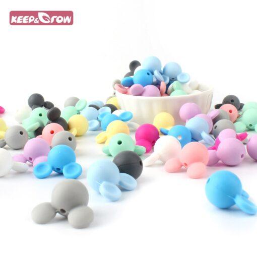 Keep Grow 10pcs lot Mickey Silicone Beads Baby Teether Toy Soft Chew Teething BPA Free DIY 2