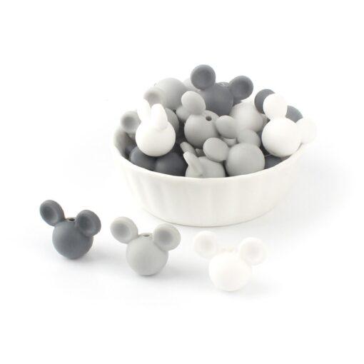 Keep Grow 10pcs lot Mickey Silicone Beads Baby Teether Toy Soft Chew Teething BPA Free DIY 4
