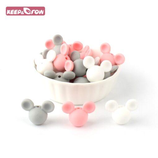 Keep Grow 10pcs lot Mickey Silicone Beads Baby Teether Toy Soft Chew Teething BPA Free DIY