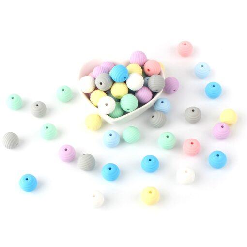 Keep Grow 15pcs Silicone Beads Baby Teething Round Spiral Beads Food Grade Beads 15mm DIY Threaded 4