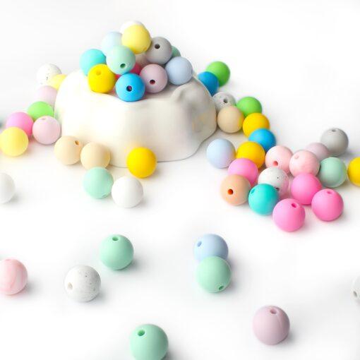 Keep Grow 25Pcs Silicone Beads 12mm Eco friendly Sensory Teething Necklace Food Grade Mom Nursing DIY 4