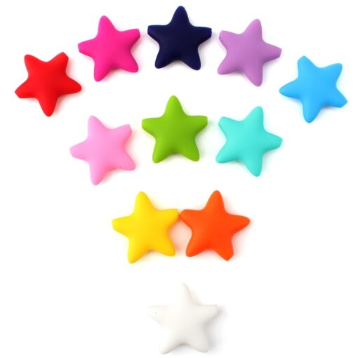 Keep grow Stars Silicone Beads 12Colors Baby Teethers Food Grade Baby Teething Toys For Pacifier Chain 1