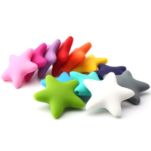 Keep grow Stars Silicone Beads 12Colors Baby Teethers Food Grade Baby Teething Toys For Pacifier Chain 4