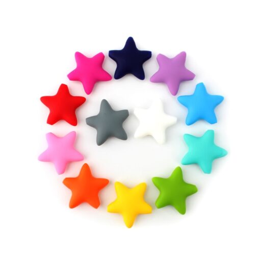 Keep grow Stars Silicone Beads 12Colors Baby Teethers Food Grade Baby Teething Toys For Pacifier Chain