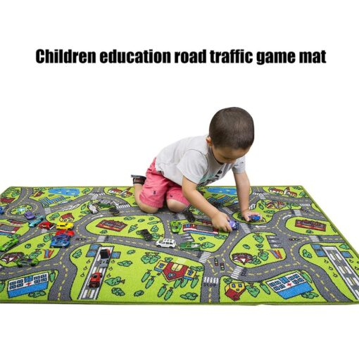 Kid Indoor Car Rug for Toy Cars Playroom and Classroom Multi Color Activity Play Mat Safe 1