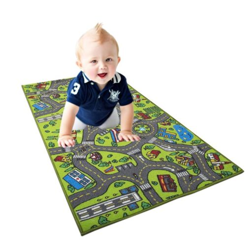 Kid Indoor Car Rug for Toy Cars Playroom and Classroom Multi Color Activity Play Mat Safe 2