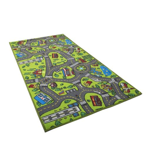 Kid Indoor Car Rug for Toy Cars Playroom and Classroom Multi Color Activity Play Mat Safe 3