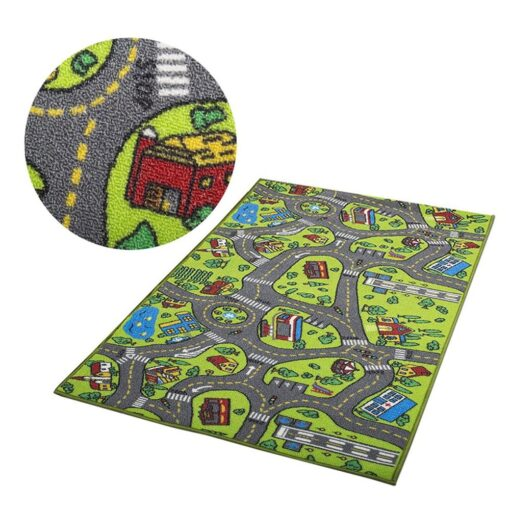 Kid Indoor Car Rug for Toy Cars Playroom and Classroom Multi Color Activity Play Mat Safe 4