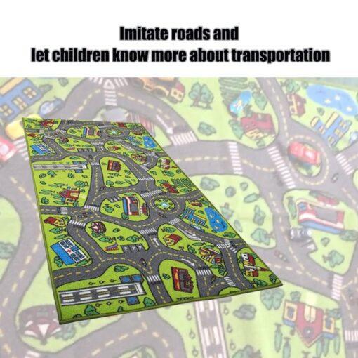 Kid Indoor Car Rug for Toy Cars Playroom and Classroom Multi Color Activity Play Mat Safe 5