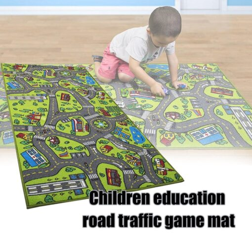 Kid Indoor Car Rug for Toy Cars Playroom and Classroom Multi Color Activity Play Mat Safe