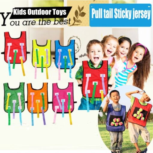 Kids 2in1 Catching Tail and Sticky Ball Jersey Cloth Training Equipment Teamwork Kindergarten Outdoor Game Toys 2