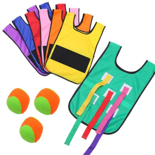 Kids 2in1 Catching Tail and Sticky Ball Jersey Cloth Training Equipment Teamwork Kindergarten Outdoor Game Toys