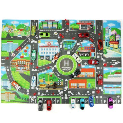 Kids 83x58cm City Parking Lot Roadmap Map Children Road Signs Model Car Climbing Mats Toys for 2