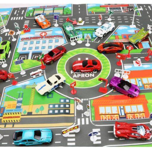 Kids 83x58cm City Parking Lot Roadmap Map Children Road Signs Model Car Climbing Mats Toys for 3