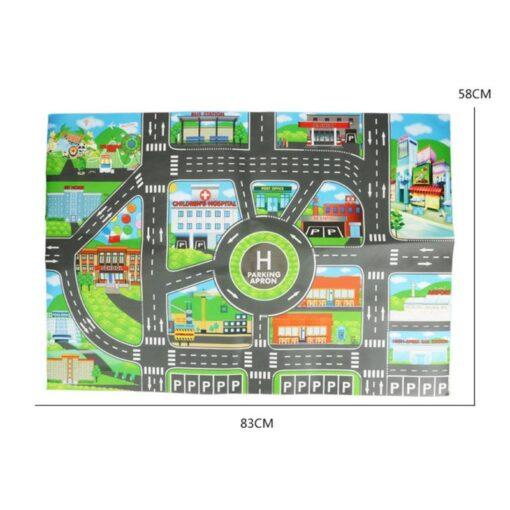 Kids 83x58cm City Parking Lot Roadmap Map Children Road Signs Model Car Climbing Mats Toys for 5
