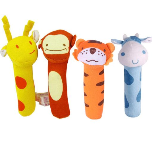 Kids Baby Funny Toys Cartoon Animal Hand Bells Plush Baby Toy Dolls Toys for Children Newbrons 1