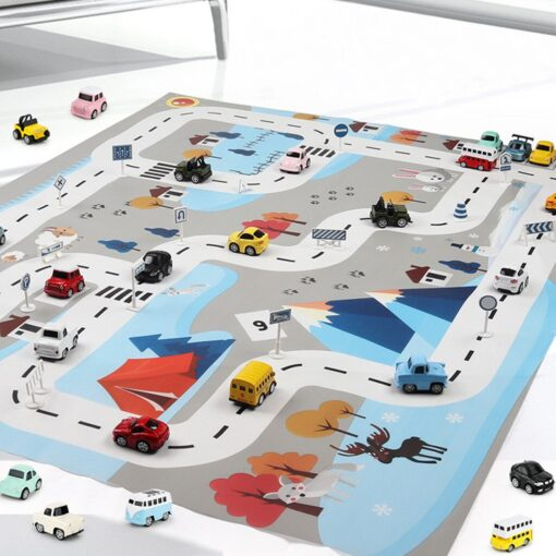 Kids Baby Play Mat City Road Buildings Parking Map Game Scene Map Educational Toys Play House 2