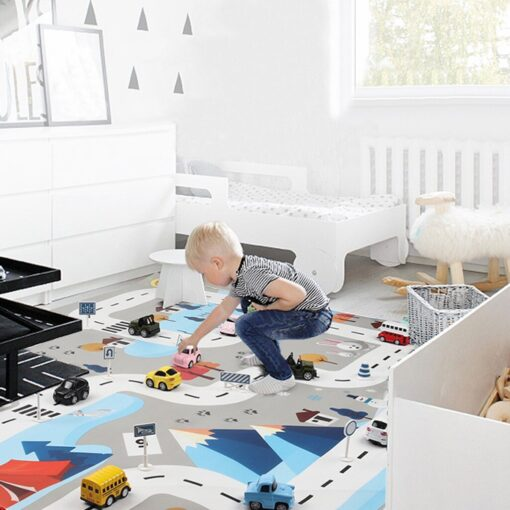 Kids Baby Play Mat City Road Buildings Parking Map Game Scene Map Educational Toys Play House 3