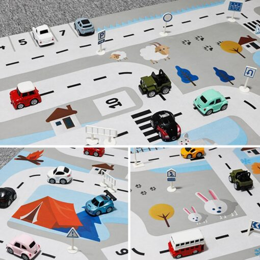 Kids Baby Play Mat City Road Buildings Parking Map Game Scene Map Educational Toys Play House 5