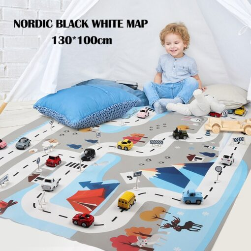 Kids Baby Play Mat City Road Buildings Parking Map Game Scene Map Educational Toys Play House