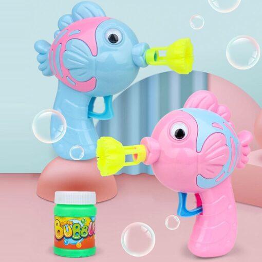 Kids Bubble Gun Cartoon Soap Water Bubble Blower Machine Summer Funny Magic Automatic Bubble Maker Gun