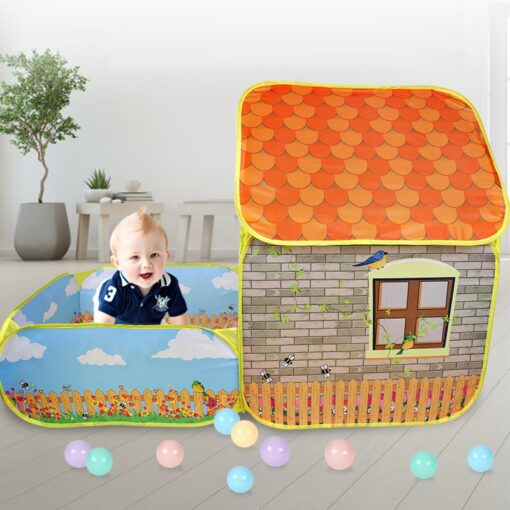 Kids Children Pop Up Tents House With Courtyard Garden Crawling Folding Tent House Boys Girls Play 3