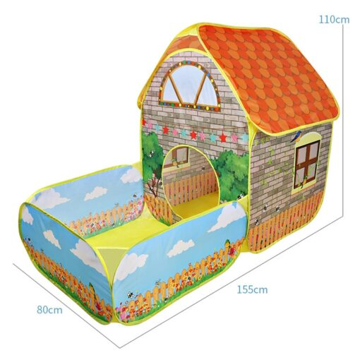 Kids Children Pop Up Tents House With Courtyard Garden Crawling Folding Tent House Boys Girls Play 5