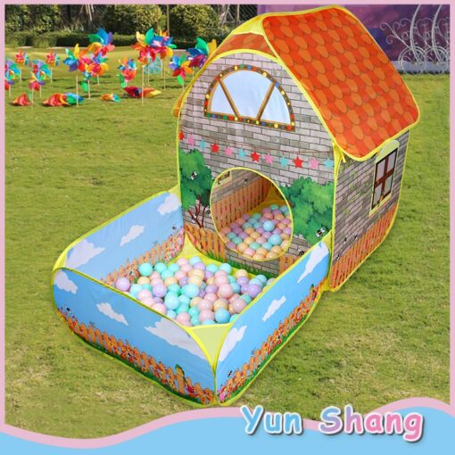 Kids Children Pop Up Tents House With Courtyard Garden Crawling Folding Tent House Boys Girls Play