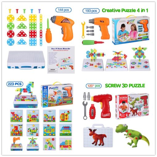 Kids Electric Drill Toys Creative Educational Toy Drill Screws Puzzle Assembled Mosaic Design Building Toys Boy 1