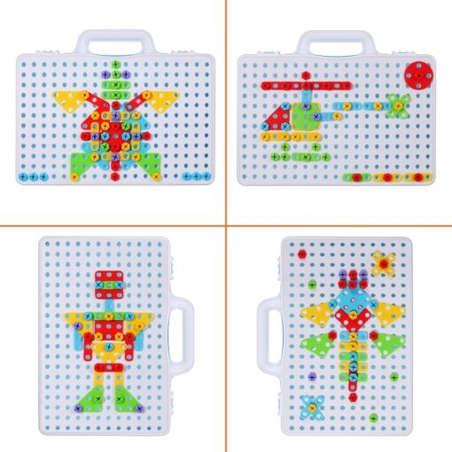 Kids Electric Drill Toys Creative Educational Toy Drill Screws Puzzle Assembled Mosaic Design Building Toys Boy 4