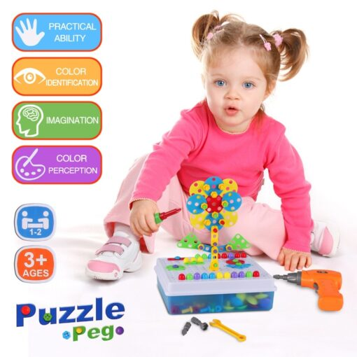 Kids Electric Drill Toys Creative Educational Toy Drill Screws Puzzle Assembled Mosaic Design Building Toys Boy