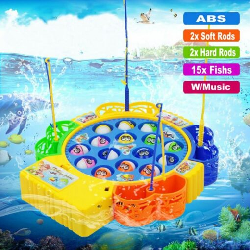 Kids Fishing Game Toy Electric Musical Rotating Catch LED Light Wooden Magnetic Educational Parent child interaction 1