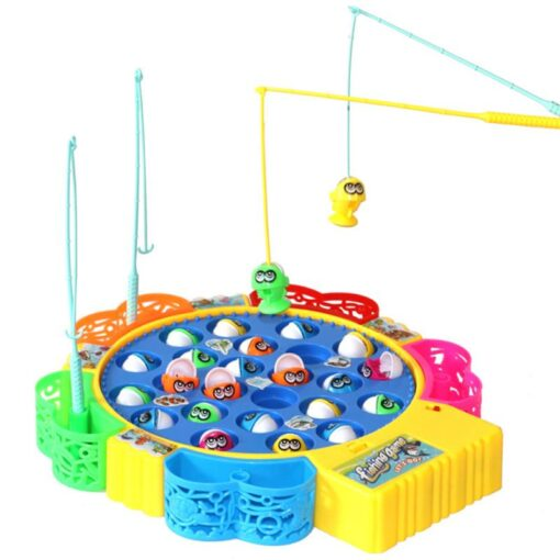 Kids Fishing Game Toy Electric Musical Rotating Catch LED Light Wooden Magnetic Educational Parent child interaction 2
