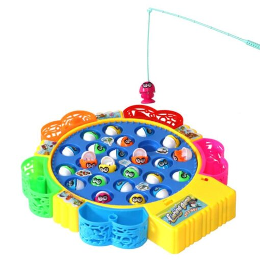 Kids Fishing Game Toy Electric Musical Rotating Catch LED Light Wooden Magnetic Educational Parent child interaction 3