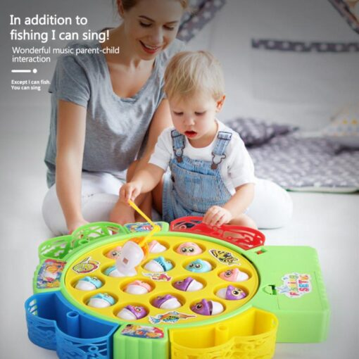 Kids Fishing Game Toy Electric Musical Rotating Catch LED Light Wooden Magnetic Educational Parent child interaction
