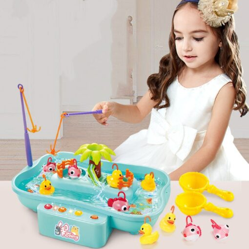 Kids Fishing Toy Child Play House Educational Toys Duck Fishing Games Electric Water Cycle Music Light 1